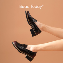 BeauToday Loafers Women Glazed Cow Leather Waxing Round Toe Slip-on Shoes Autumn Spring Retro Ladies Flats Handmade 27714