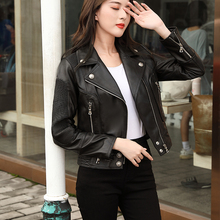 Clothing Coat.black Biker-Sheepskin Jacket.cool Slim Short Motor Wholesales.woman