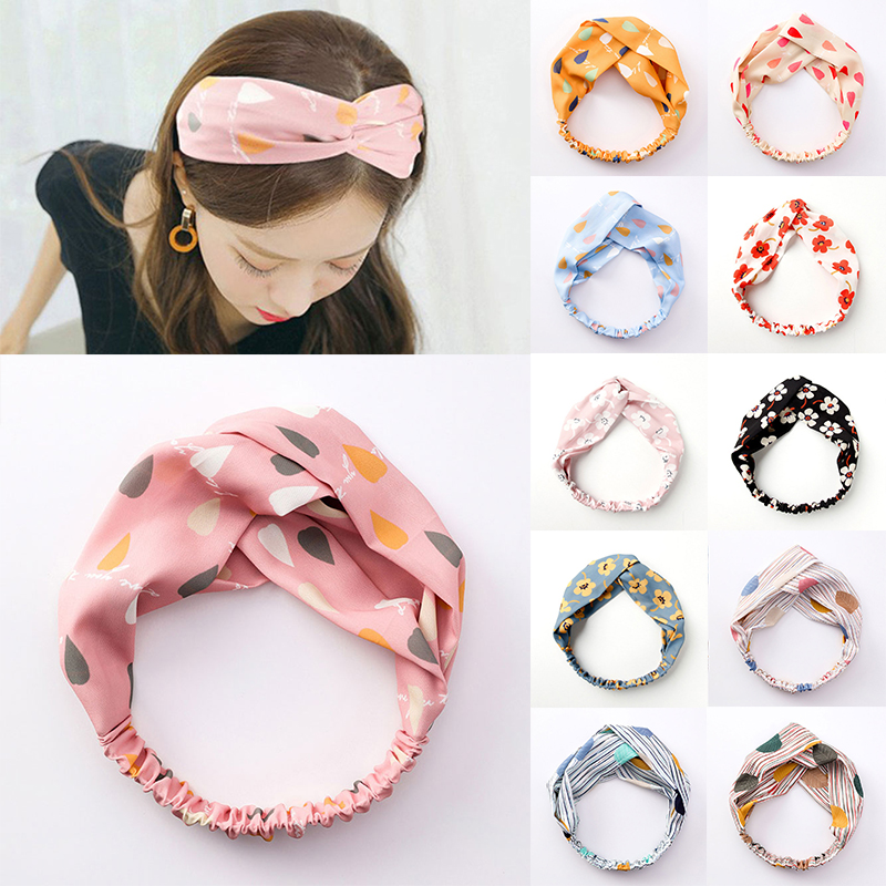 Korean Cross Knotted Hair Band Floral Print Sweet Fresh Wide Headband For Women Girls Headwear Hairband Female Hair Accessories