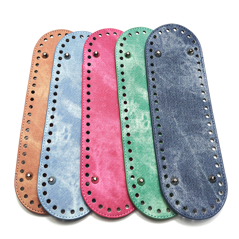 New 1PC Fashion Oval Long Bottom For Knitting Bag PU Leather 52 Holes  Handmade DIY Handbags Bottom Replacement Bag Accessories