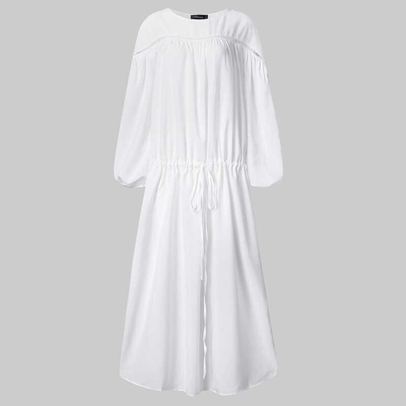 Celmia 2020 אופנה מוצק קפלי שמלת נשים מקרית לנטרן שרוול Loose מקסי ארוך שמלת גבירותיי בוהמי חוף Vestidos Mujer 7