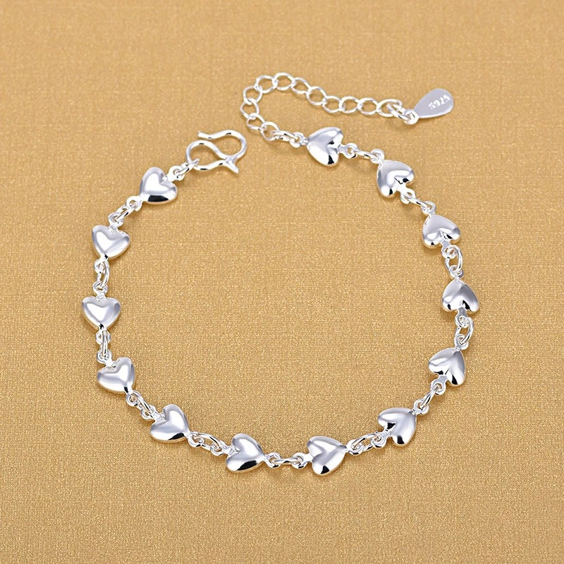 925 Sterling Silver Heart Bracelets Fashion Charm Bracelets Fine Fashion Bracelet Jewelry For Woman 2020 Gift