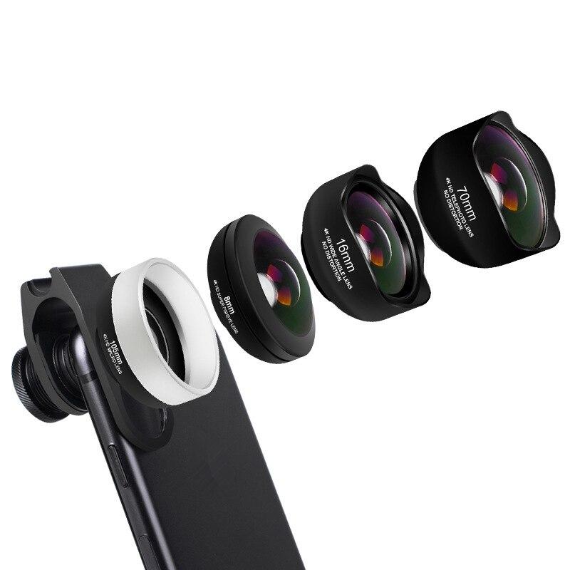 4 en 1 Kit de lente de cámara de teléfono sin distorsión Objetivo Macro de gran angular de ojo de pez con Clips Lentes para la mayoría de Smartphones