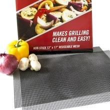 3pcs/set Non-stick Barbecue Grilling Mats High Security BBQ Mat PTFE Coated Fiberglass Mesh 400*330mm Sheet Pad Accessories
