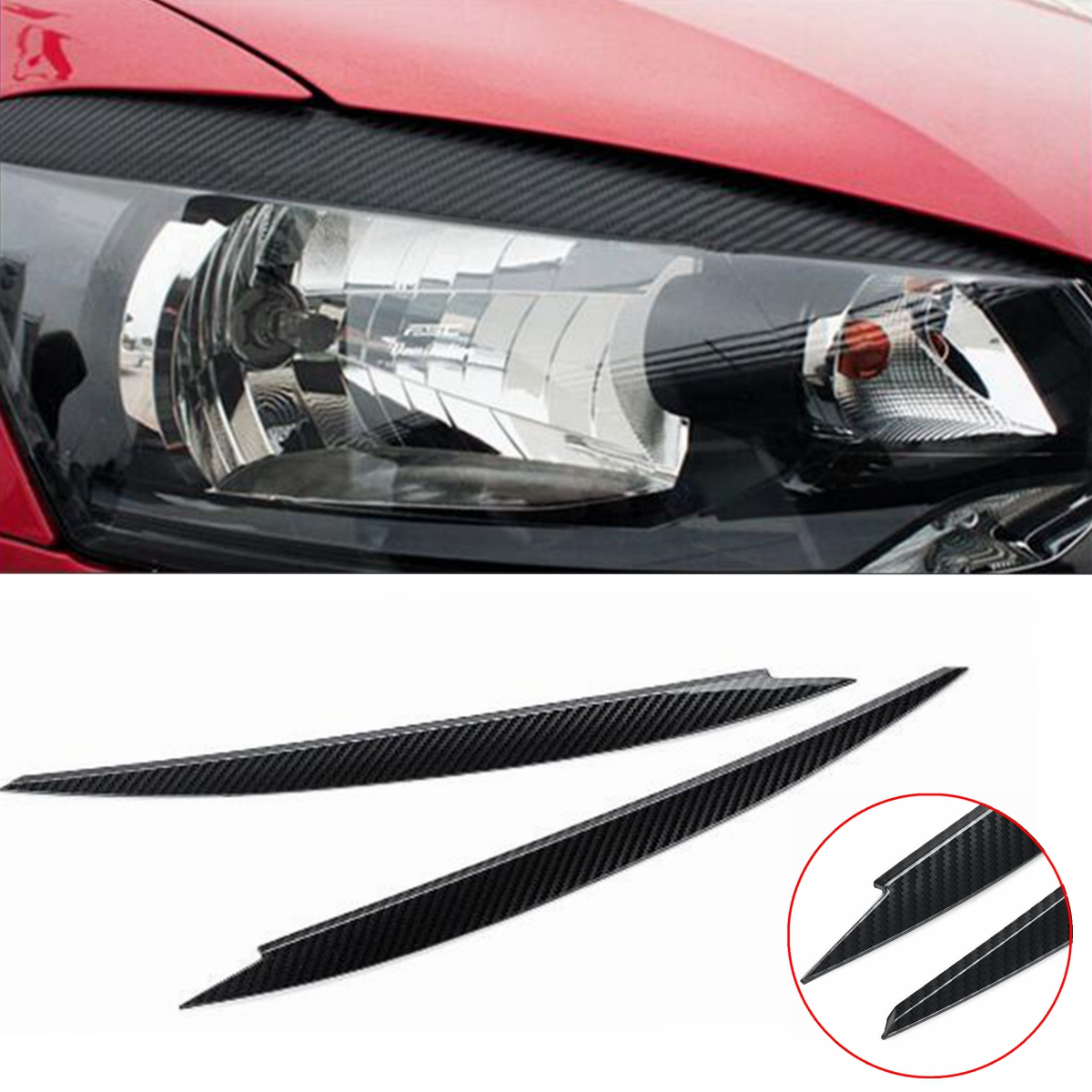 2 x Headlight Eyebrow Eyelid Cover Trim for VW Golf 7 VII GTI GTD R MK7 2013-2017 Carbon Fiber Eye-catching Show Easy Install