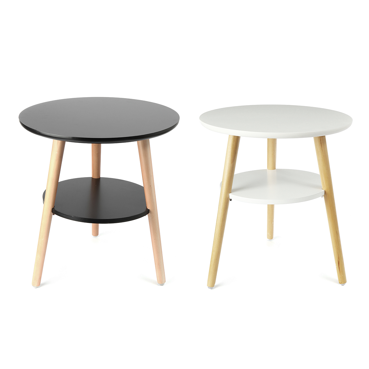 Nordic Modern Wood Coffee Table Convenient Sofa Round Double Side Practical Natural Tea Side Table Living Room Bed Decoration