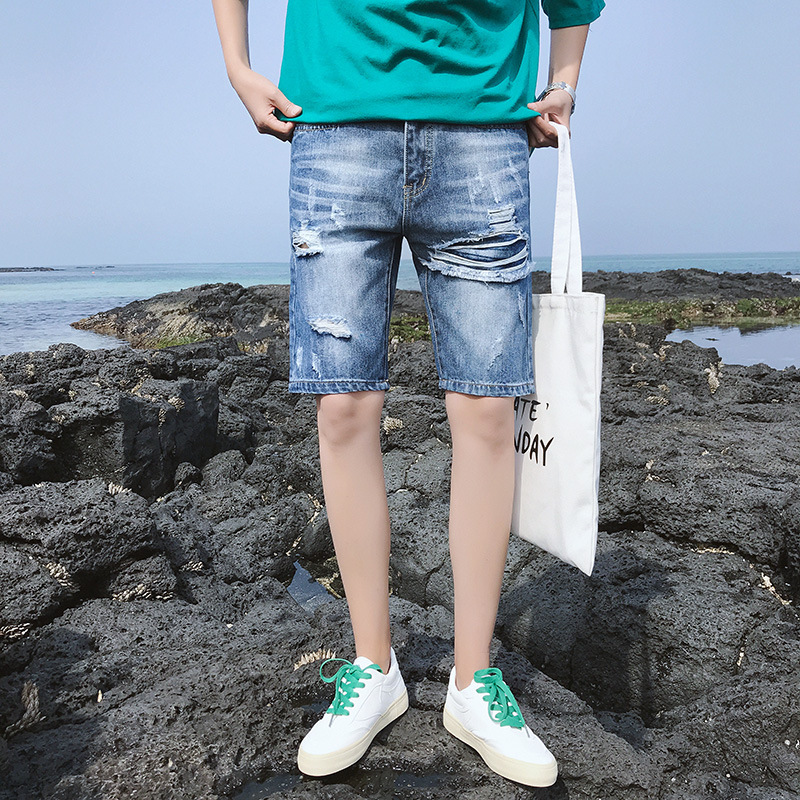 Jeans Men's Trend Short Shorts Korean-style Summer New Style Youth Versatile Men'S Wear With Holes Casual Jeans