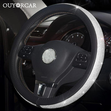 Car Leather Steering Wheel Covers Crystal Rhinestone Auto Steering Wheel Covers Protectors Interior Accessories For Women Girls