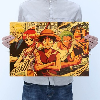 Prints Art Japanese Anime One Piece Luffy Isthron Posters Paper For Door Room Bar Coffee Wall Stickers Decor Living Bedroom Kid image
