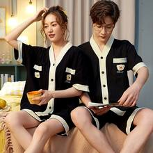 Couple pajamas women's summer cotton short sleeve shorts Korean student home wear men's pajamas