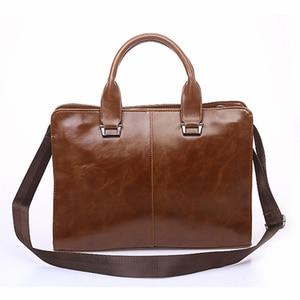 Image 4 - Mens Business office Briefcase Computer Laptop Handbag male Top PU Leather Tote man Large Solid Shoulder bags Black Vintage bag
