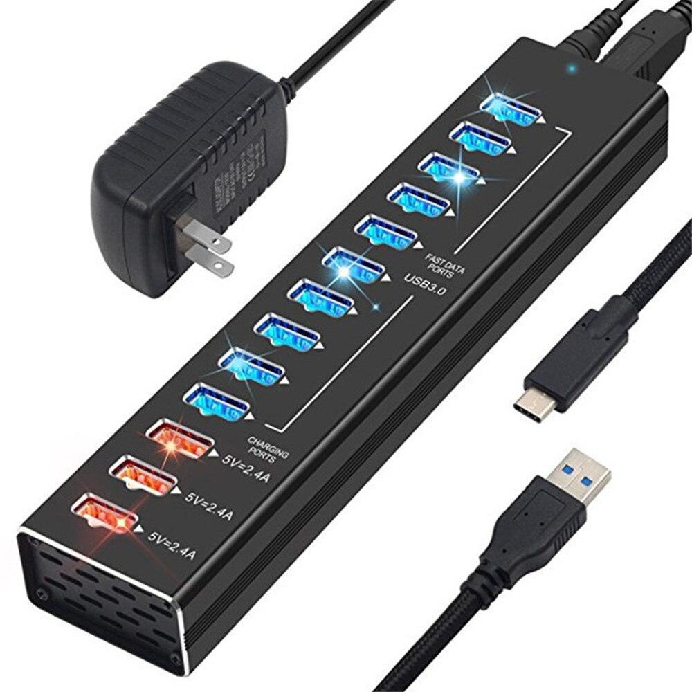 Moyeu USB 3.0 EU/US avec adaptateur d'alimentation 5V 2.4A chargeur rapide USB C séparateur de moyeu haute vitesse 13 Ports pour moyeu d'ordinateur portable Macbook Pro