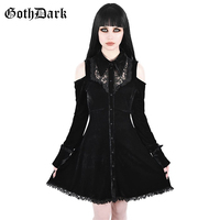 Goth Dark Solid Lace Grunge Punk Gothic Female Dresses Harajuku Aesthetic Hollow Out Hole Buttuon Autumn 2019 Dress Vintage