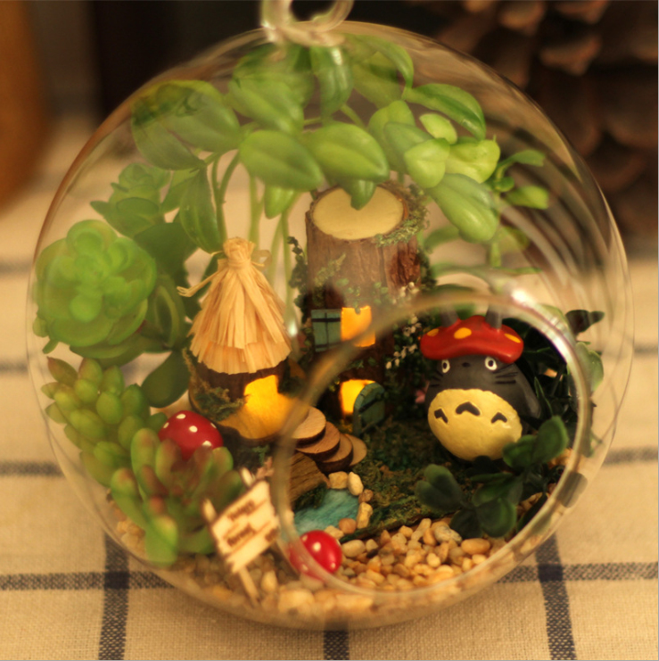 DIY Glass Ball Doll House Cute Totoro Dollhouse Model Kits Handmade Wooden Miniature Assembling dollhouse Toy Kids Birthday Gift 2