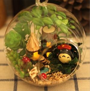 Image 2 - DIY Glass Ball Doll House Cute Totoro Dollhouse Model Kits Handmade Wooden Miniature Assembling dollhouse Toy Kids Birthday Gift