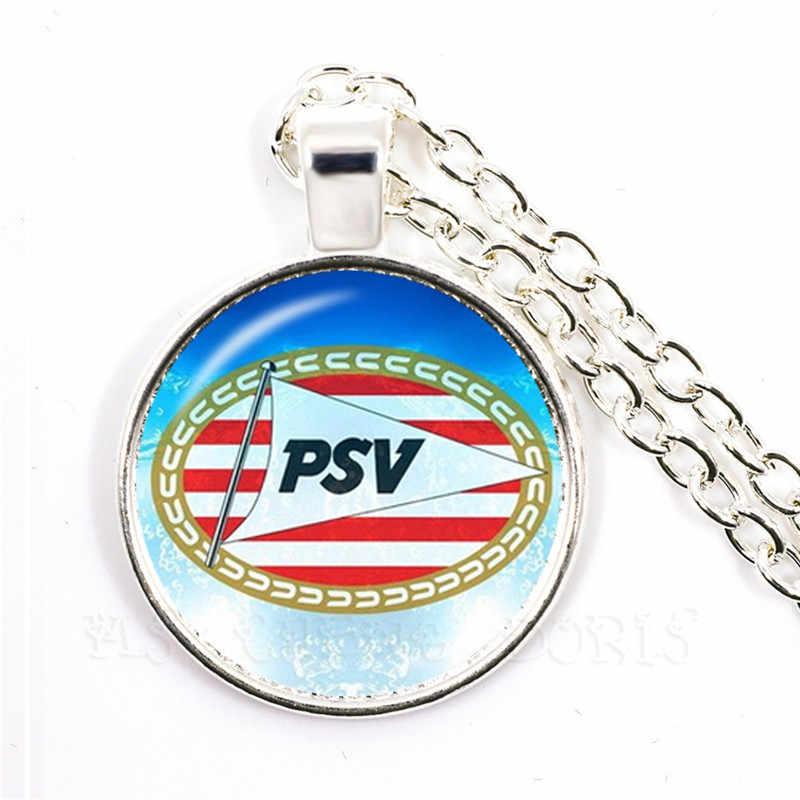 Klub Sepak Bola 25 Mm Kaca Cabocon Kalung Ajax PSV Sepak Bola Leags Logo Fotboll Klub Liontin Kalung untuk Funs Hadiah