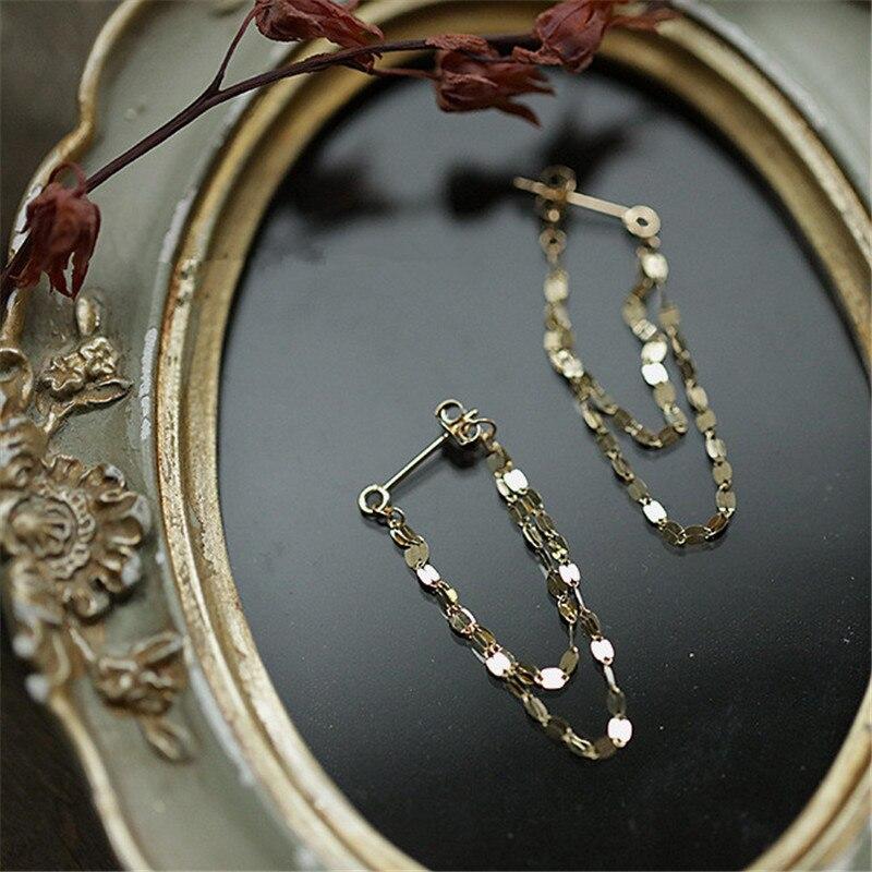 925 Sterling Silver European Geometric Chain Tassel Earrings For Women Simple Temperament Goddess Jewelry Accessories Gift