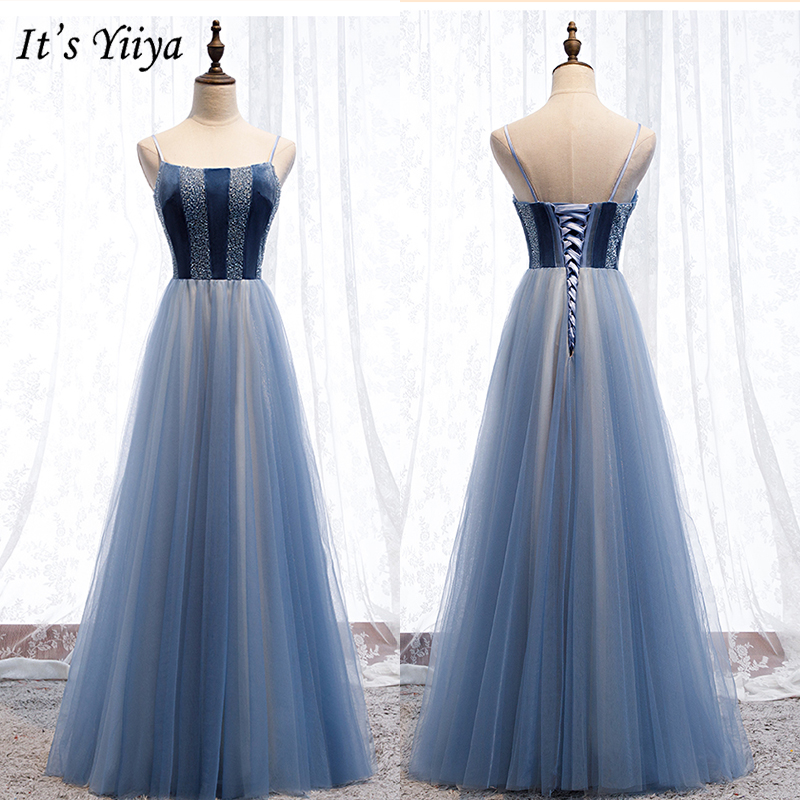 It's Yiiya Evening Dress 2019 Bule Crystal Elegant A-Line Party Dresses Spaghetti Strap Boat Neck Robe De Soiree Plus Size E970
