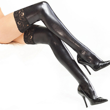 Pu Leather Sexy Stocking Women Patent Leather Long Stocking Thigh For Lady Girl High Stay Up Lace Floral Stockings Femme