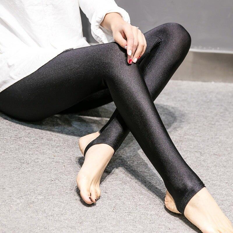 Girl  Fashion Women Shiny Leggings Thin Ankle Length Black Leggings Stretchy High Waist Satin Basic Leggings