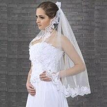 Women Short Bridal Veil Lace Edge One Layer With Comb 2019 Wedding veu de noiva longo