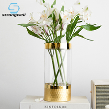 Strongwell European Glass Vase Gold Foil Honeycomb Flower Living Room Decor Crafts Household Ornament Wedding Tabletop
