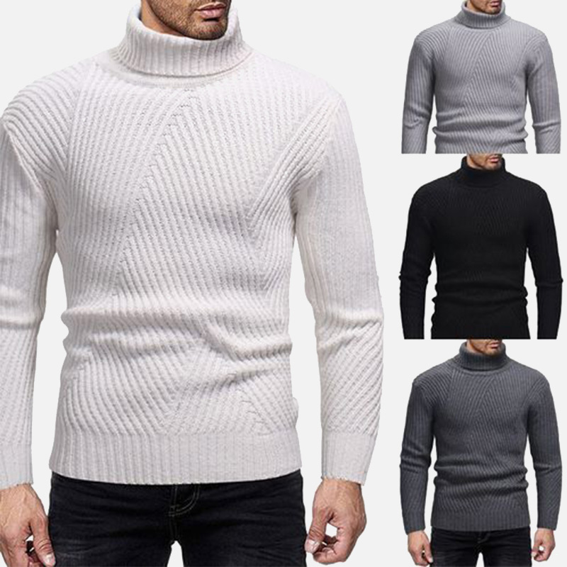 Autumn Winter New Casual Men's Turtleneck Sweater Slim Warm Men Pullover Sweaters 2019 Solid White Fashion Male Pullovers