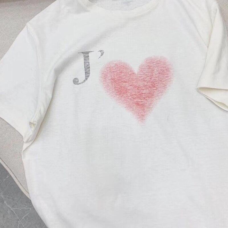 2019 estate t shirt collo rotondo di modo di lettera di amore di stampa T Shirt graffiti a maniche corte in cotone top t shirt da donna-in Magliette da Abbigliamento da donna su  Gruppo 2