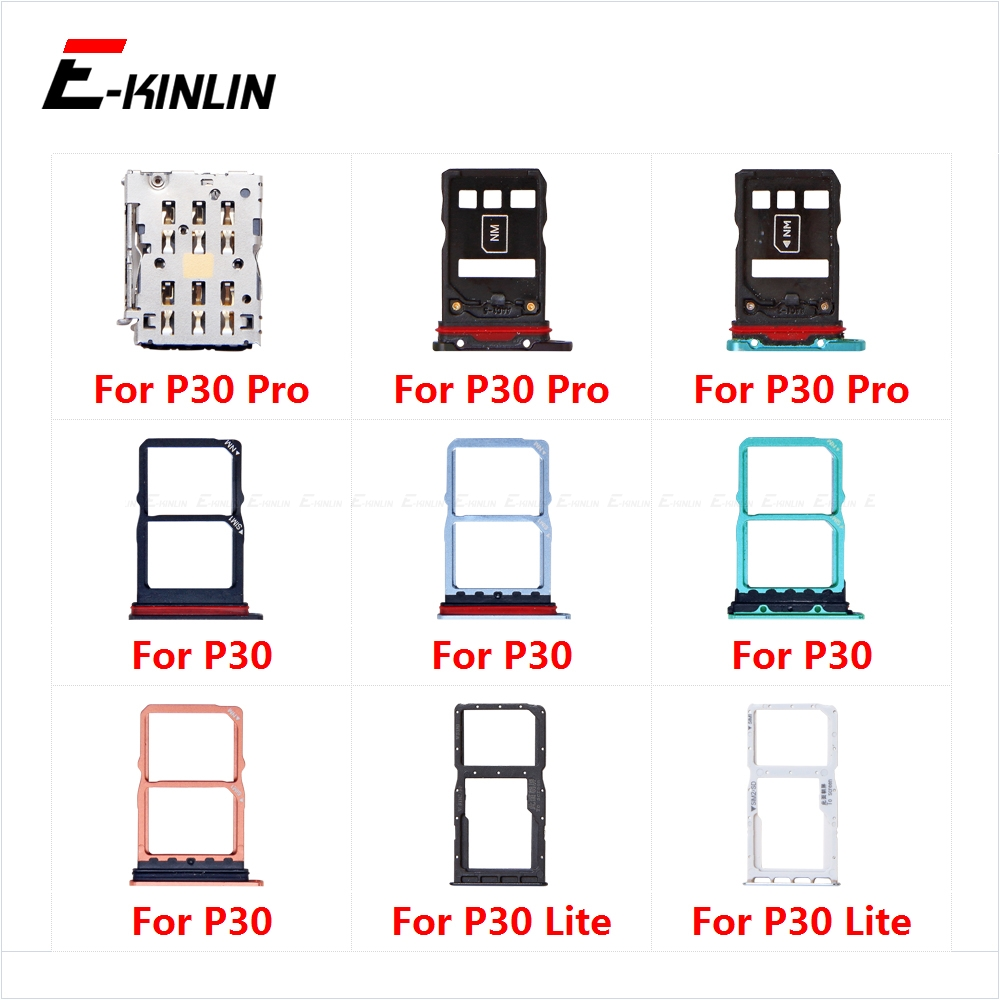 Sim Card Socket Slot Tray Reader Holder Connector Micro SD Adapter Container For HuaWei P30 Pro Lite Replacement Parts