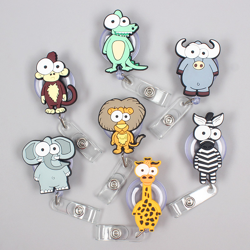 Creative Forest Animal Monkey Lion Retractable Plastic Badge Holder Reel Exhibition ID Enfermera Name Hospital Office Chest Card