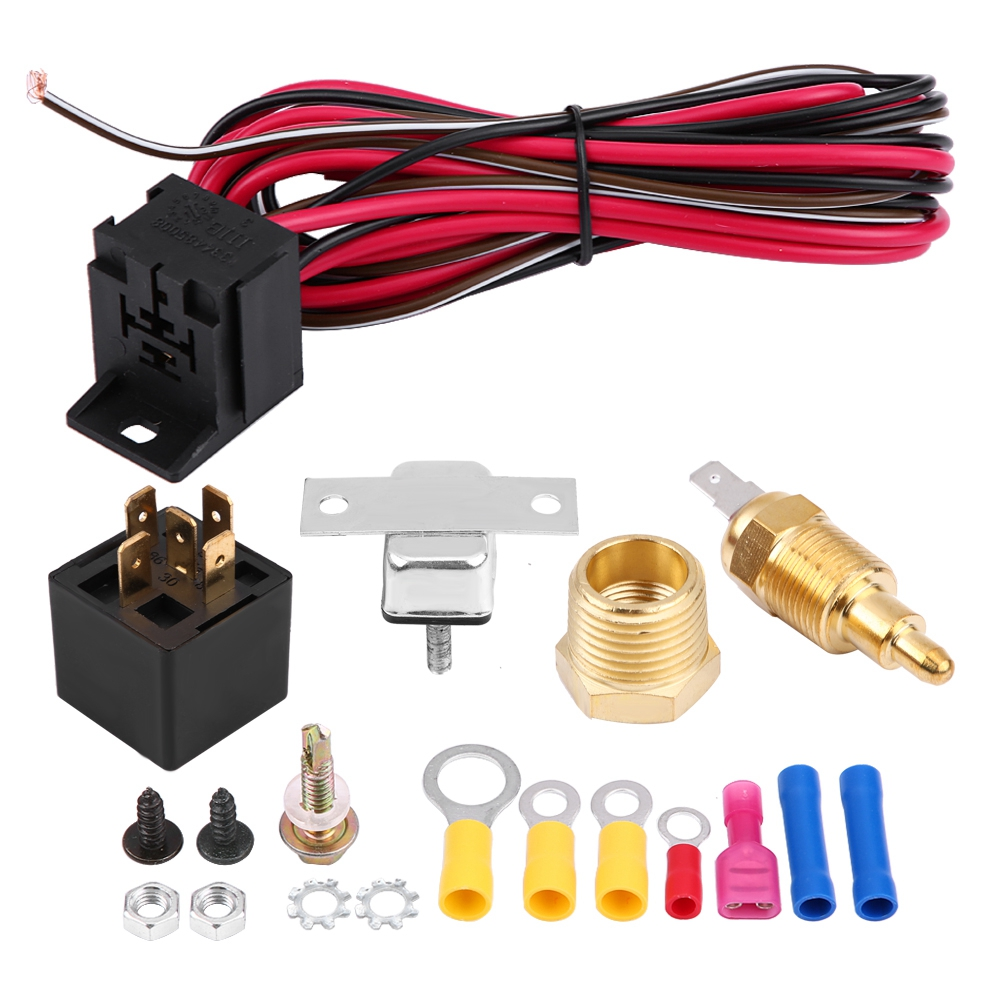 HOT 185~200 Degree Engine Cooling Fan Thermostat Temp Switch Sensor Relay Kit