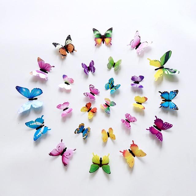 12pcs Luminous Butterfly Design Decal Art Wall Stickers Room Butterflies Home Decor DIY Stickers 3D Fridge Wallpaper Decoration 6
