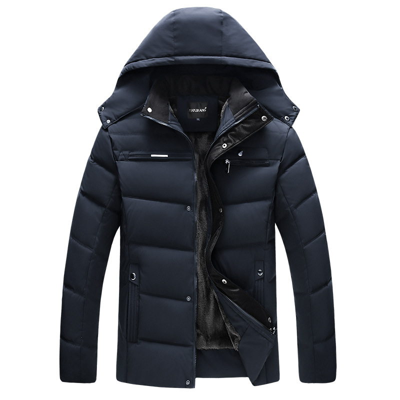 Thick Warm Winter Jacket Men Hooded Casual Mens Parka Coat Solid Middle-aged Male Overcoat Father's Gift Outwear