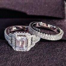 Solid 925 Sterling Zilveren Zirkoon Wedding Ring Set Voor Bridal Vrouwen Mannen Finger Gift Afrika Zambia Botswana Mode sieraden R4835S