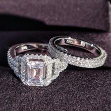 solid 925 Sterling Silver zircon Wedding Ring Set for Bridal Women Men Finger Gift Africa zambia botswana Fashion Jewelry R4835S