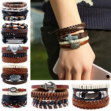 Adjustable Men Braclet Wooden Multilayer Bead Beaded Woven DIY Bracelet Rope Leather Braslet Jewelry NIN668(China)