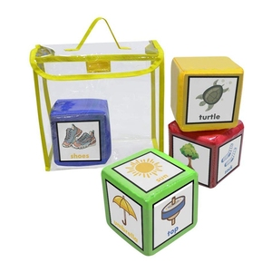 Image 2 - DIY edukacja gra w kości, kieszonkowe kwadratowe serwetki, kieszeń na zdjęcia piankowe bloki do układania w stosy zestaw 4 sztuk