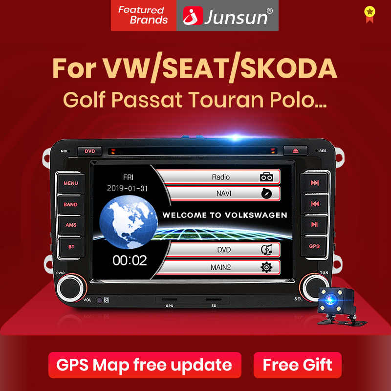 Junsun 2 DIN รถวิทยุเครื่องเล่นมัลติมีเดียเครื่องเล่น GPS สำหรับโฟล์คสวาเก้น VW Golf Passat B6 Touran โปโลซีดาน Tiguan Jetta Android DVD