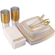 125PCS Gold/Rose Gold Disposable Cutlery Set Caccommodate 25 people square bronzing plate tableware party tableware decoration