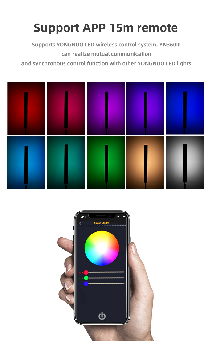 H3287508a15be43bcb208f1e18e610e9eb Yongnuo YN360 III YN360III Handheld 3200K-5500K RGB Colorful Ice Stick LED Video Light Touch Adjusting Controlled by Phone App