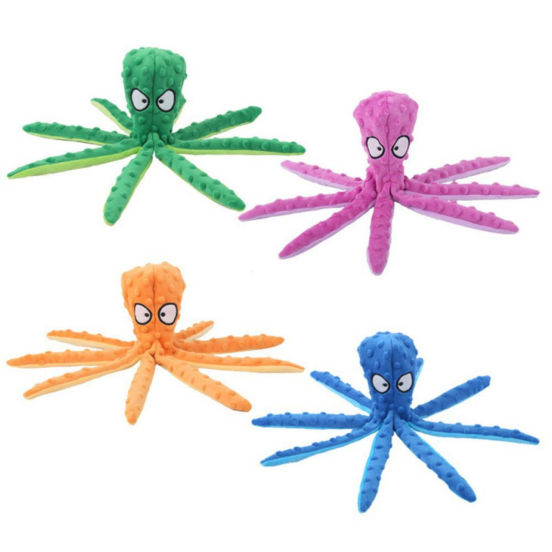 DIKOPRO Pet Octopus Toy Pet Plush Toy Octopus Skin Shell Dog Puzzle Bite Resistant Vocal Toy Safe Non-Toxic Fun Training Chewing Clean Teeth Cat and Dog Supplies for Puppy and Medium Dogs(Blue)