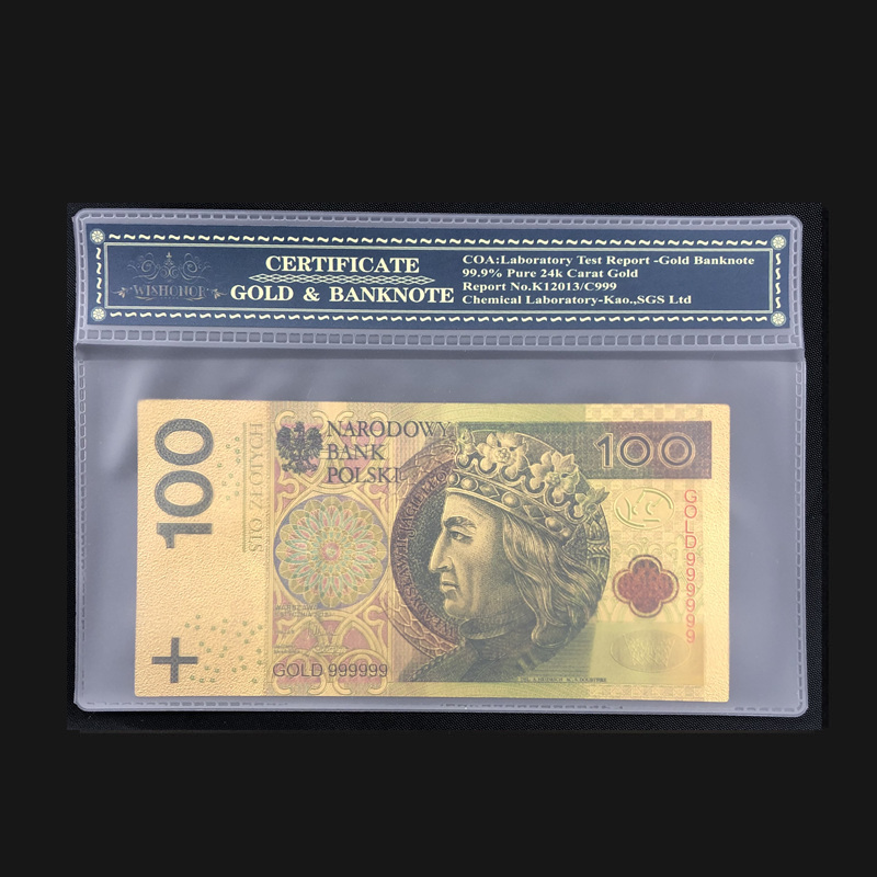 Nice Poland Banknote 100 PLN Gold Banknote With COA Frame In 24k Gold Plated For Business Collection