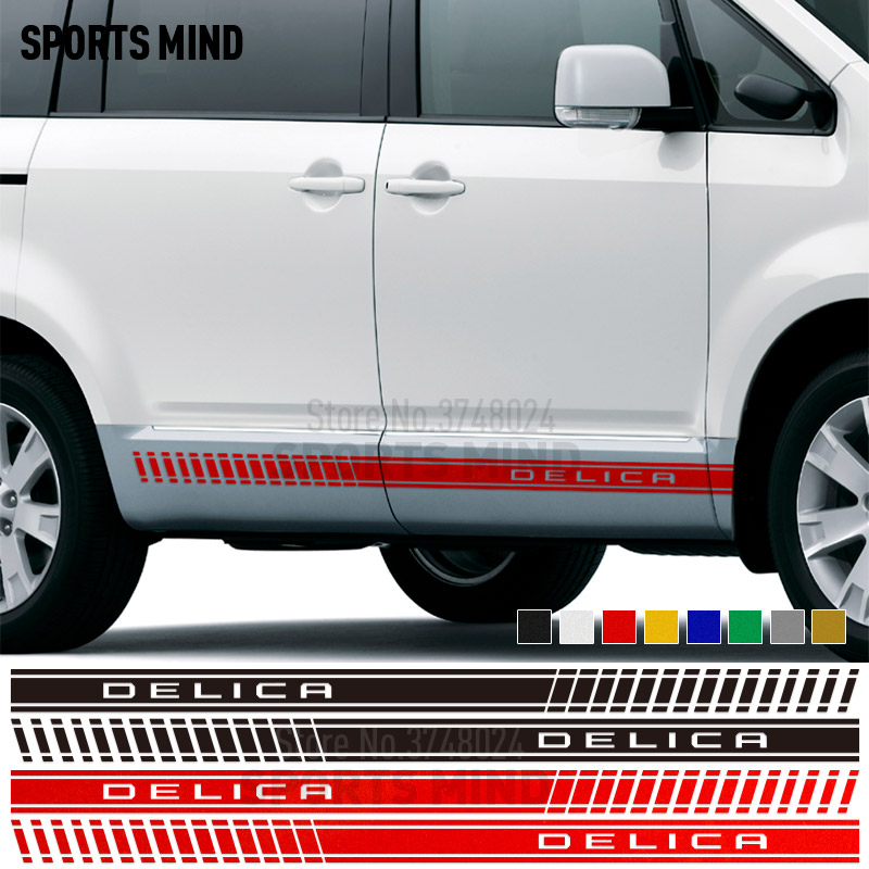 1 Pair Sports Mind Door Side Stripe Car Sticker Decal Automobiles Vinyl Car Styling For Mitsubishi Delica D5 L400 Accessories|Car Stickers| |  - title=