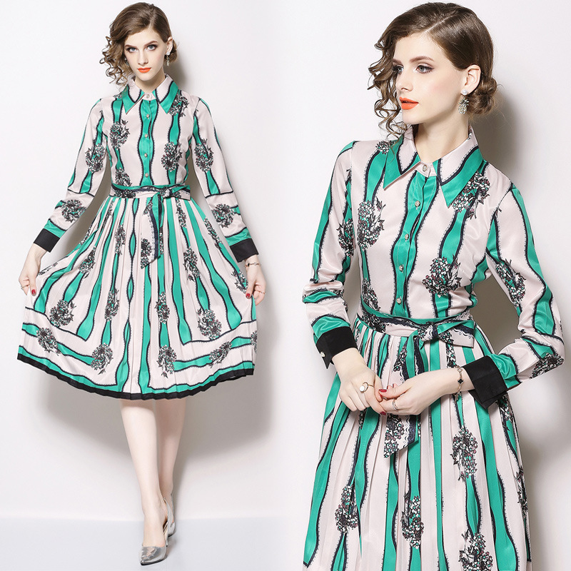 Ozhouzhan 2019 Spring New Style Printed Contrast Color Stripes Bow Ribbon Pleated Slim Fit Slimming Dress