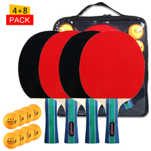Table-Tennis-Bat 8-Balls Racket Ping-Pong-Paddle Double-Face-Pimples with Bag 4pcs/Lot