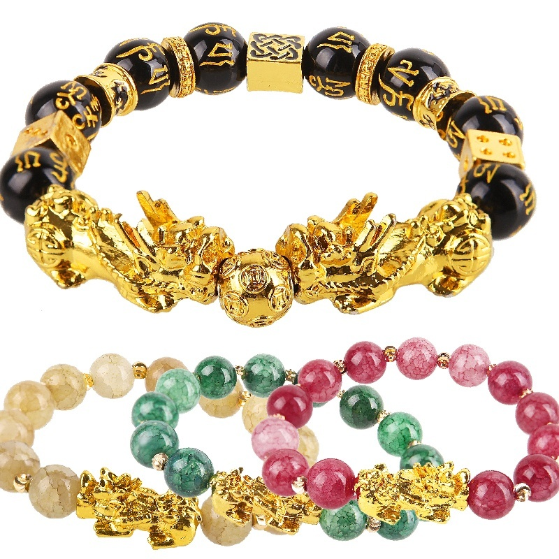 Obsidian Stone Beads Bracelet Unisex Wristband Gold Black Pixiu Bring Wealth and Good Luck Chinese Feng Shui Men Women Bracelets