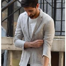 Suit Jacket Light Linen Casual Summer Male Fashion Full V-Neck for Men Obrix Smart Single-Breasted