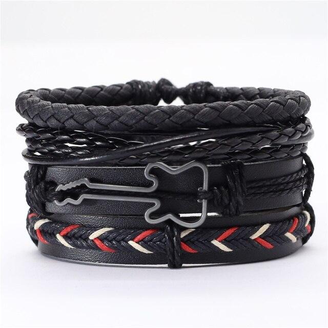 Trust In God Faith Black Guitar Leaf Beads Wristband Leather Bracelets Set Men Bracelets Women Homme Fashion Jewelry Accessories 4