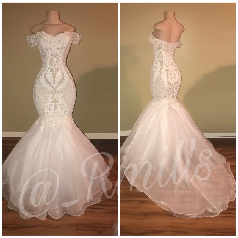 White Mermaid Prom Dresses For African Black Girls Sequined Sexy Off Shoulder Court Train Mannequin Real Photos Party Gowns