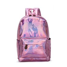 Gold Silver Sequins Backpack Fashion Glitter School Book Bag Girls Cute Hologram Laser PU Leather Travel Backpack Mochila(China)